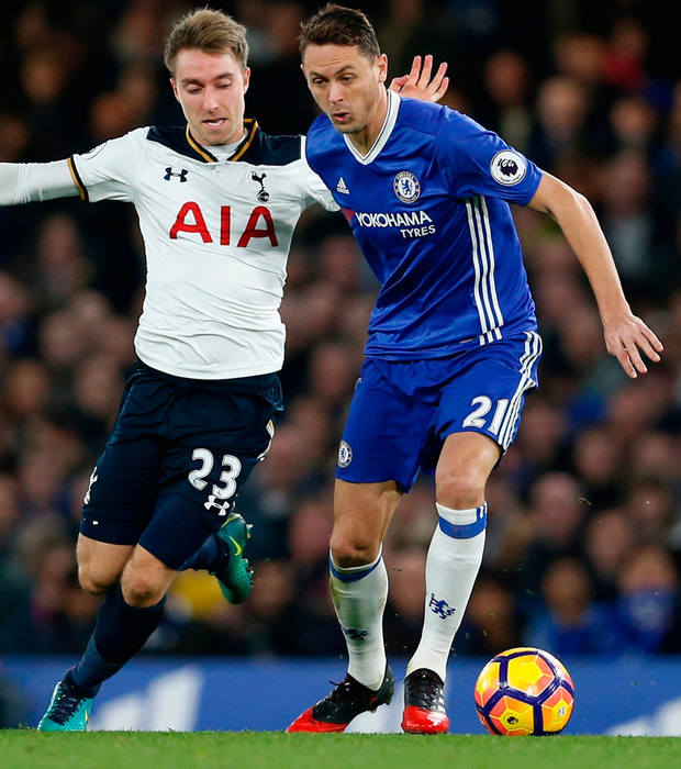 Tottenham's Christian Eriksen battles with Chelsea's Nemanja Matic. Photo: Matthew Childs/Reuters