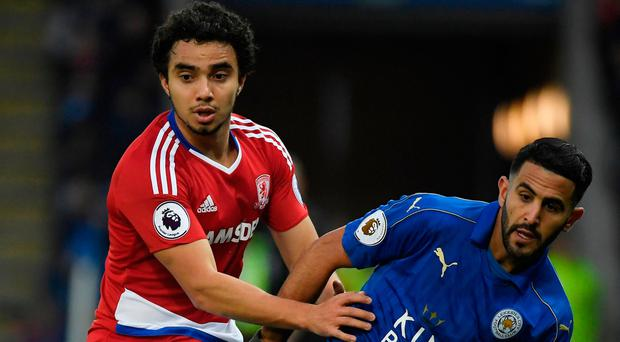 Leicester City's Riyad Mahrez in action with Middlesbrough's Fabio. Photo: Toby Melville/Reuters
