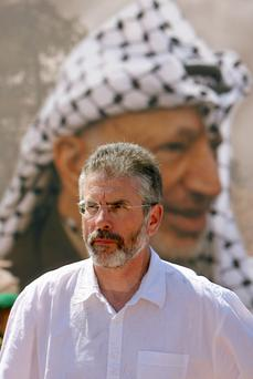 Gerry Adams met members of Hamas – the largest militant group in the region – in the Palestinian parliament and laid a wreath at the tomb of the former president Yasser Arafat in 2006 Picture: Getty