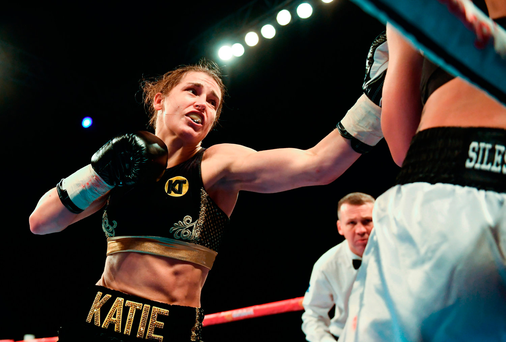 Katie Taylor forces Karina Kopinska on to the ropes during their super-featherweight bout at Wembley Arena on Saturday night. Photo: Sportsfile