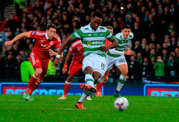 Moussa Dembele of Celtic scores Celtic's 3rd goal from the penalty spot. Photo: Getty