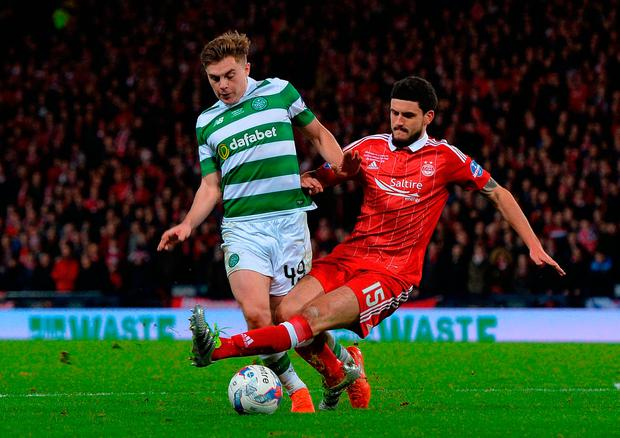 James Forrest of Celtic is fouled in the penalty box by Anthony O'Conner of Aberdeen, resulting in a penalty kick and a third Celtic goal. Photo: Getty