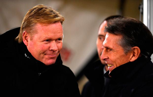 Ronald Koeman, Manager of Everton (L) and Claude Puel, Manager of Southampton (R) converse. Photo: Getty