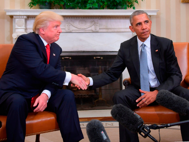 President-elect Donald Trump meets with President Barack Obama at the White House Photo: JIM WATSON/AFP/Getty Images