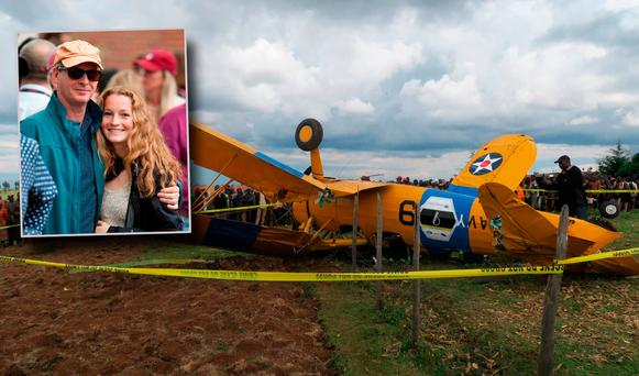 The crashed plane and inset John Ordway and daughter Isabella. Picture: John Ordway, Facebook