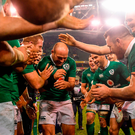 Ireland captain Rory Best is appluaded off the pitch by his teammates