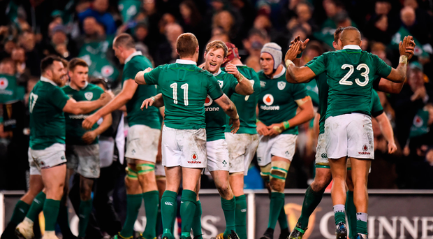 Keith Earls and Kieran Marmion of Ireland celebrate with team mates after the Autumn International match between Ireland and Australia at the Aviva Stadium in Dublin. Photo by Matt Browne/Sportsfile