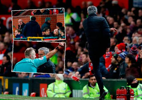 Jose Mourinho was sent to the stands for kicking a water bottle