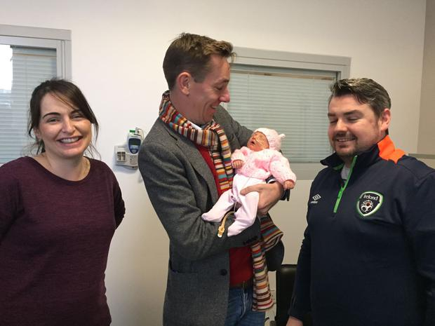 Ryan Tubridy with baby Holly and parents Alan Buckley and Annie Kennedy