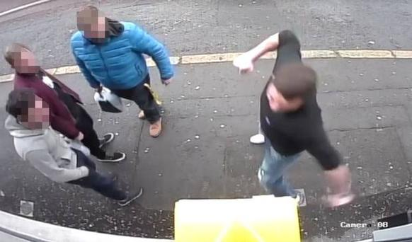 CCTV footage shows the defibrillator box being smashed in east Belfast