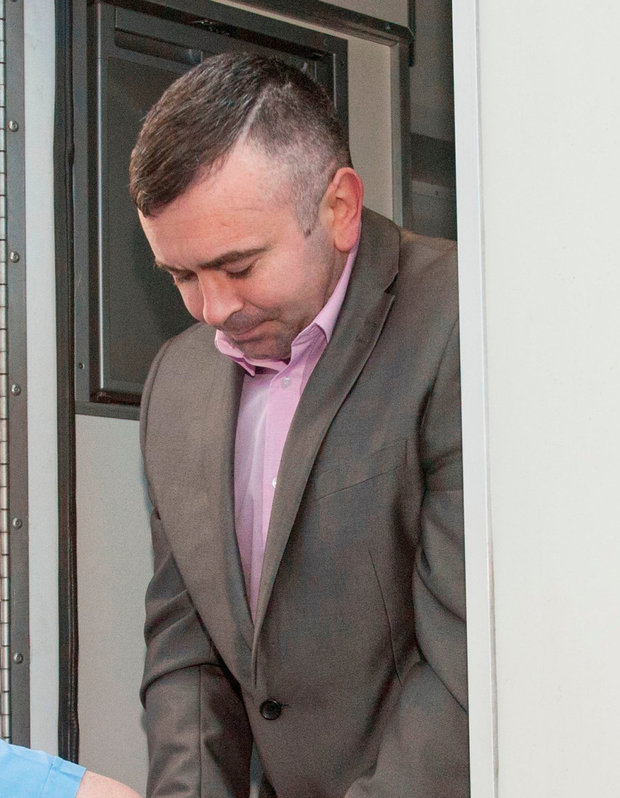 Gavin Sheehan is led into Cork Circuit Criminal Court, where he was found guilty of the shot that seriously injured Ciara Sheehan. Photo: Provision