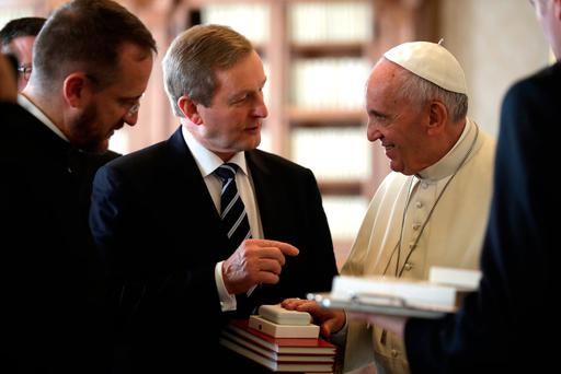 "Mr Kenny has rejected the notion that he had gone to Rome ""cap in hand"". Photo: AP Photo/Alessandra Tarantino"