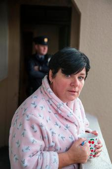 Catherine Kynaston, a neighbour, who called the Fire Brigade pictured at the scene of a fire at Pearse House Flats, Pearse St. Photo: Colin O'Riordan
