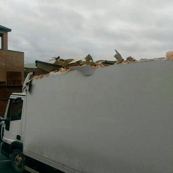 Damage done to the lorry (Photo: PSNI)