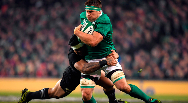 CJ Stander on the charge against New Zealand. Photo by Brendan Moran/Sportsfile