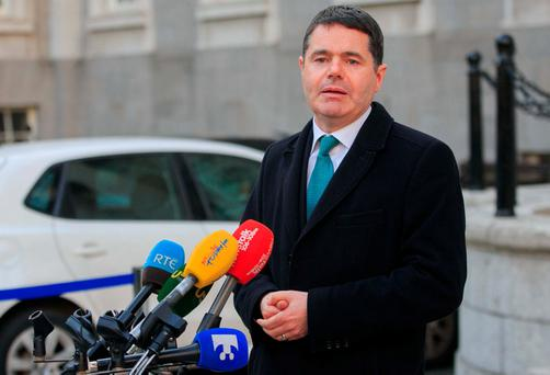 Minister for Public Expenditure and Reform, Paschal Donohoe TD speaking to media about the Government's commitment to a collective approach to setting pay policy and securing the future of the Lansdowne Road Agreement at Government Buildings, Dublin. Photo: Gareth Chaney Collins