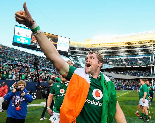 Jamie Heaslip savours the moment after Ireland defeated New Zealand in Soldier Field, Chicago. Photo: Brendan Moran. Photo by Brendan Moran/Sportsfile