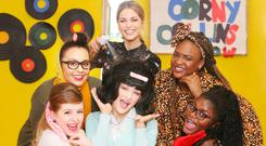 Amy was joined by students from Coláiste Pobail Setanta in Clonsilla who are performing the musical 'Hairspray'. They are Laurryn McLeod, Lynn Maxon, Holly Brennan McLoughlin, Winner Roland and Dami Ahmed. Photo: Leon Farrell