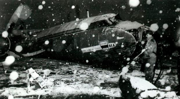 The wreckage of the British European Airways plane which crashed in Munich in February 1958. Photo credit: PA Wire