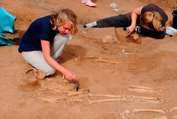 Undated handout photo of a mass burial, where more than half of the skeletons are children, uncovered at the site of a 14th-century monastery hospital at Thornton Abbey