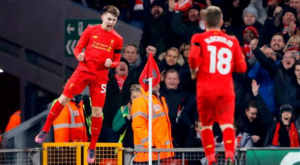 Liverpool's Ben Woodburn celebrates scoring their second goal Action Images via Reuters / Carl Recine