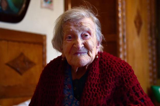 Emma Morano, 116, poses for AFP photographer in Verbania, North Italy, on May 14, 2016. (Photo credit: OLIVIER MORIN/AFP/Getty Images)