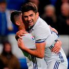 Enzo Zidane celebrates after scoring for Real Madrid. Photo: Denis Doyle/Getty Images
