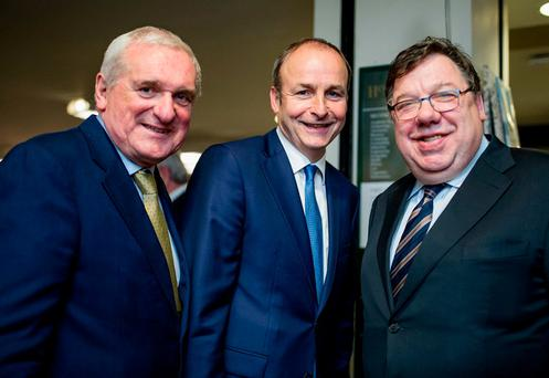 Fianna Fáil leader Micheál Martin with former Taoiseach Bertie Ahern and Brian Cowen. Photo: Arthur Carron