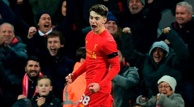 Liverpool's Welsh striker Ben Woodburn. Photo: Paul Ellis/AFP/Getty Images