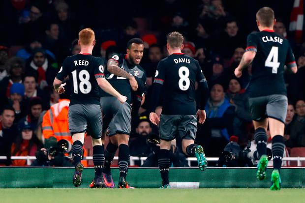 Southampton's Ryan Bertrand celebrates scoring their second goal against Arsenal with team-mates