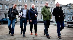Anti-Austerity Alliance and People Before Profit TDS (l-r) Gino Kenny, Paul Murphy, Brid Smith, Mick Barry and Richard Boyd-Barrett meet the media outside Leinster House to respond to the Expert Commission on Water Charges report. Photo: Tom Burke