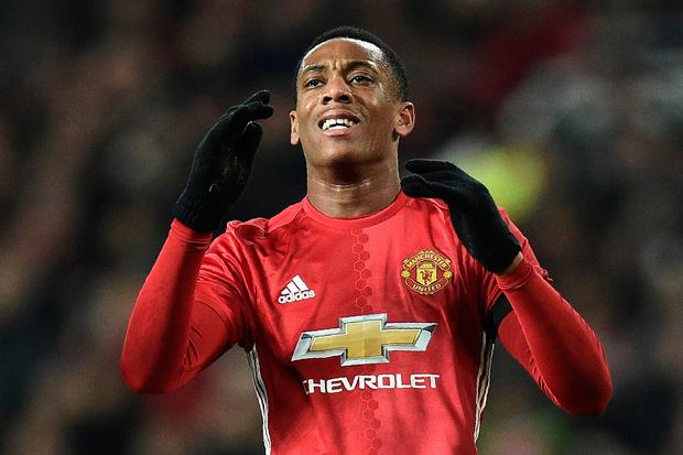 Striker Anthony Martial scored twice for Manchester United against West Ham last night