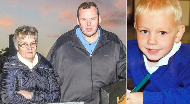 Left: Padraig Higgins with his wife Joan. Right: their son James, who tragically died in a farm accident.