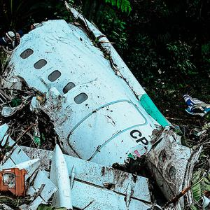 Wreckage from the plane crash in Colombia. AFP/Getty Images