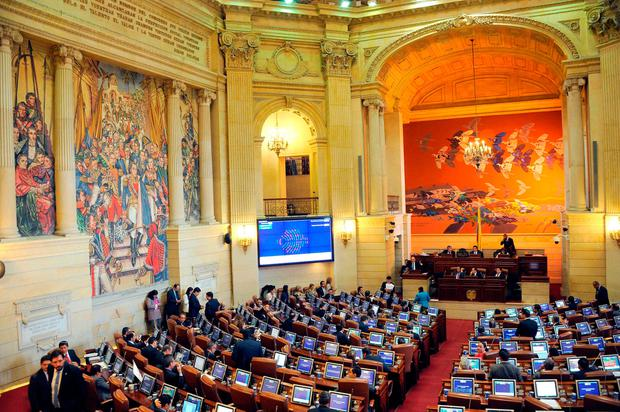 View of the Colombian Congress' house of Representatives during a session to endorse the new peace agreement signed between the government and the FARC, in Bogota. Photo: AFP/Getty Images