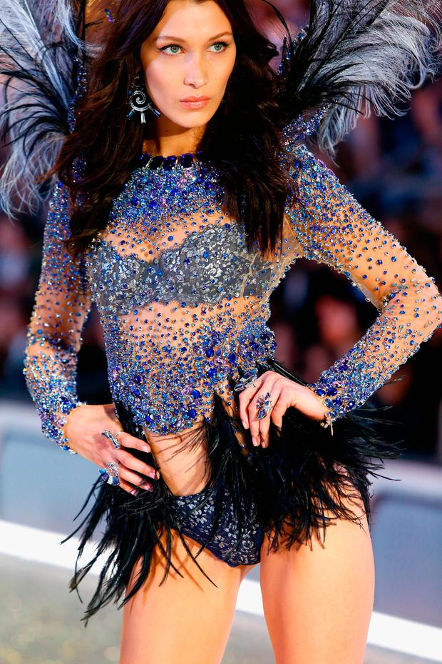 Bella Hadid walks the runway with Swarovski crystals during Victoria's Secret Fashion Show on November 30, 2016 in Paris, France. (Photo by Julien M. Hekimian/Getty Images for Swarovski)