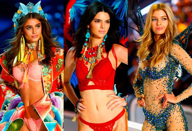 (L to R) Taylor Hill, Kendall Jenner and Stella Maxwell at the 2016 Victoria's Secret Fashion Show