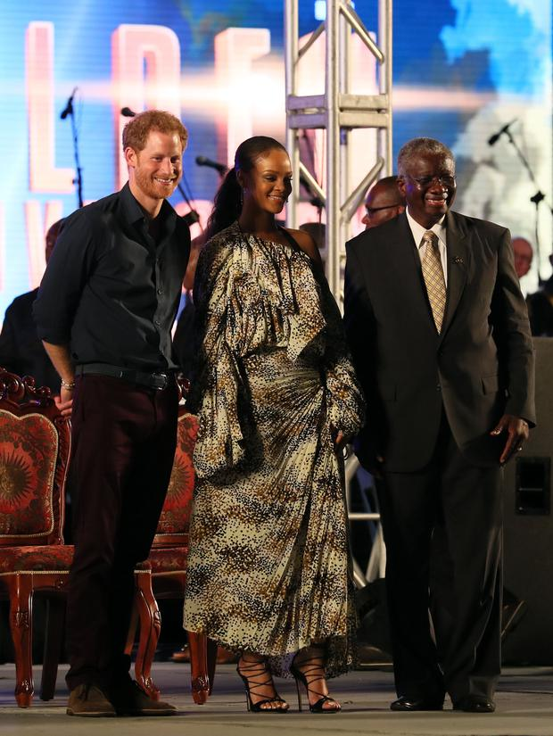 Prince Harry, Rihanna and Prime Minister Freundel Stuart, during the Golden Anniversary Spectacular Mega Concert at the Kensington Oval cricket ground in Bridgetown, Barbados marking 50 years of the islands independence. PRESS ASSOCIATION Photo. Picture date: Wednesday November 30, 2016. Photo credit: Chris Radburn/PA Wire