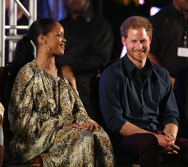 Prince Harry and Rihanna during the Golden Anniversary Spectacular Mega Concert at the Kensington Oval cricket ground in Bridgetown, Barbados marking 50 years of the islands independence. PRESS ASSOCIATION Photo. Picture date: Wednesday November 30, 2016. Photo credit: Chris Radburn/PA Wire