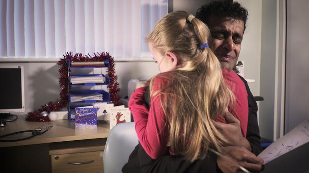 Video still issued by the Cystic Fibrosis Trust from a film showing the moment an NHS doctor was moved to tears by a thank you note from a 10-year-old patient. Photo credit: Cystic Fibrosis Trust/Marcel Reinard/PA Wire