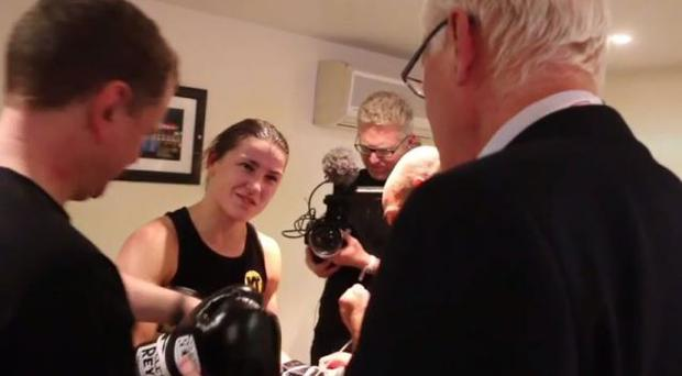 Katie Taylor chats to Barry Hearn after her victory last weekend