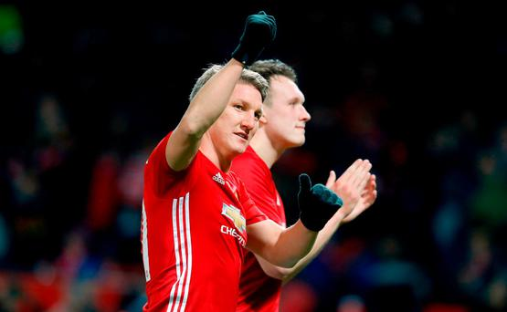 Manchester United's Bastian Schweinsteiger celebrates after the final whistle last night