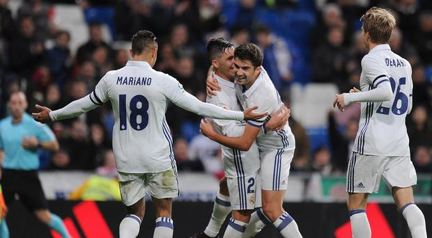 Enzo Zidane celebrates with his team-mates. Getty Images