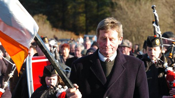 Tom Hales leads the parade to the monument at the 88th Anniversary of The Kilmichael ambush- commemoration at Kilmichael ambush site recently. Pic: Irish Examiner.