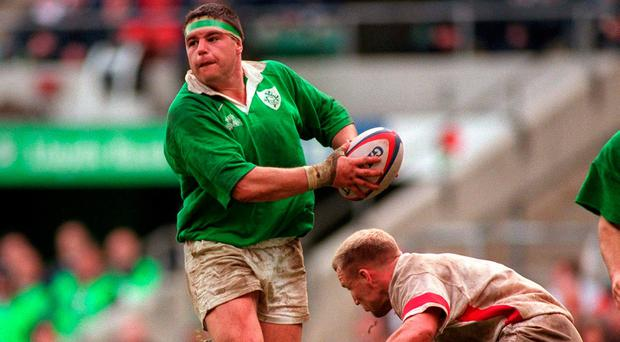 Greystones' Reggie Corrigan playing for Ireland against England's Neil Back at Twickenham in 1998. SPORTSFILE