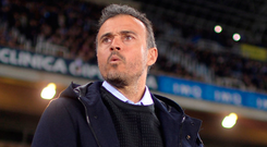 Barcelona boss Luis Enrique has been feeling the heat as he looks to avoid slipping nine points behind bitter rivals Real Madrid tomorrow Photo: REUTERS/Vincent West