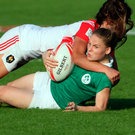 Ireland's Nicole Cronin is tackled by Mathilde Coutouly during France's victory in the World Rugby Women's Sevens in Dubai. Ireland also lost to New Zealand and drew with Fiji yesterday. Photo: Getty Images