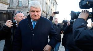 Businessman Denis O'Brien leaves the Four Courts after giving evidence in his High Court action. Photo: Collins Courts