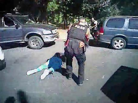 A still from a police video showing Keith Scott on ground. Photo: AP