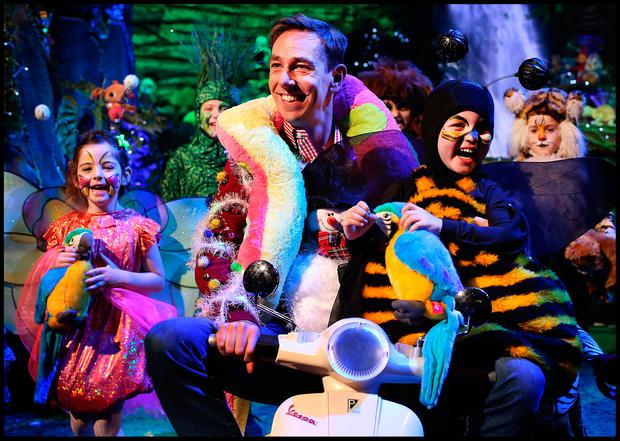 The Late Late Toy Show's Ryan Tubridy with kids including Butterfly Lauren McMahon(5), Grass Emma McNally (9), Bumblebee Cillian Ryan (4) , Tiger Cub Arda Destire (8), Zebra Molly McLoughlin (11) and Monkey Niamh Mulvany (11) on the new jungle set ahead of tonights Show. Pic: Steve Humphreys